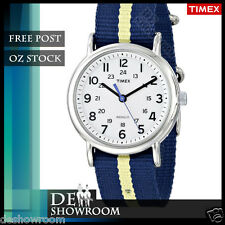 Timex Men's Weekender Blue Fabric Watch, Indiglo,  T2P142  Free Post