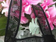 Black Cotton Cluny Leavers Lace Trim 2.5cms wide. Pattern 2069 Made in G.Britain