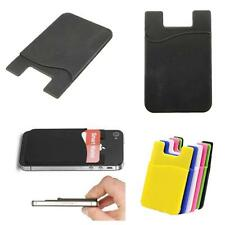 1X Silicone Wallet Credit Card Cash Pocket Stick On Adhesive Holder For Phone TC
