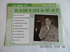 CARTE FICHE PLAISIR DE CHANTER PIERRE DUDAN ON PREND LE CAFE AU LAIT AU LIT