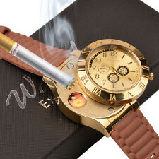 USB Rechargeable Sports Quartz Watch Windproof Flameless Cigarette Lighter Watch