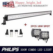 300W 52inch Combo PHILIPS LED Driving Light Bar Lamp 4X4 Boat With 2pcs 18W SPOT