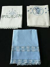 Vintage Embroidered Blues Pillowcase Lot of 3 Linens