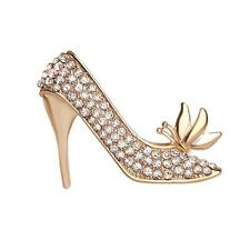 Ladies Women Crystal Rhinestone Breastpin Glamour High Heeled Shoes Brooch Pin