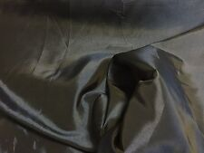 PLAIN BLACK TAFFETA SILK EFFECT CURTAIN FABRIC PER METRE