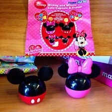 Tomy Gacha Disney Mickey Minnie Mouse Eraser & Mini Coin Box Capsule 2pc Set