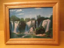 VINTAGE TABLE TOP FRAMED MOVING WATERFALL LIGHTED PICTURE 12 X 9.5 VIC-THOR1