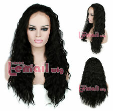 "22"" Women Natural Black curly wave lace front wig Heat Resistant LC27 +CAP"