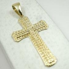 "BRAND NEW! Custom 10K Yellow Gold Large Diamond Cut Cross, 7.8 grams 2.75"" long"