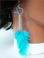 Blue Feather Parrot Cloisonne Painted Dangle Earrings