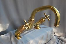 BRASS KITCHEN MIXER TAPS IN ANTIQUE PATINA FINISH SINK  RECLAIMED FULLY REFURBED
