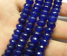 """5x8mm Faceted Blue Sapphire Gemstone Roundel Loose Beads 15"""""""