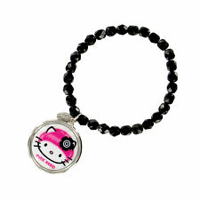 NEW Tarina Tarantino Black HELLO KITTY Pink Head Mod Charm Bracelet -50% OFF