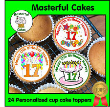 24 PERSONALISED 17th BIRTHDAY DESIGN 1 EDIBLE RICE PAPER CUP CAKE TOPPERS
