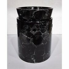 Tall Black Marbled Ceramic Electric Scented Oil Tart Candle Burner/Warmer Light