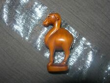 NETSUKE CAMEL DROMEDARY FIGURINE BOXWOOD JAPANESE HAND CARVED CARVING SIGNED