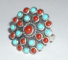 NATIVE AMERICAN RED CORAL TURQUOISE NAVAJO SILVER RING SIZE M 1/2 925 JEWELLERY