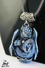 Fantasy charm pendant Dragon necklace handmade from polymer clay