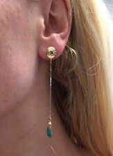 Elegant Romantic 14K Yellow Gold Diamond and Colombian Emerald Long Drop Earring