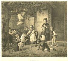 Blindekuh, spielende Kinder, Original-Lithographie von ca. 1870