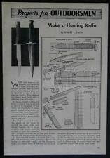 Hunting Knife Knives 1947 How -To Make PLANS 2 styles