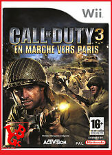 CALL OF DUTY 3 En Marche vers Paris Wii Nintendo jeu Video compatible Wiiu Wii-U