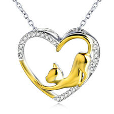 Cute Gold Cat Cubic Zirconia Gems Heart Pendant 925 Sterling Silver Necklace 18""