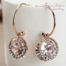 18K Rose Gold Plated Simulated Diamond 10 Ct Extra Sparkling Half Hoop Earrings