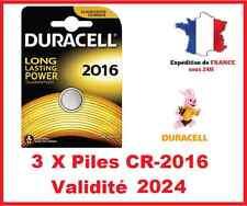 3 Pilas CR-2016 DURACELL botón Litio 3V DLC 2024