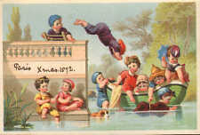 1872 very colourful children swimming card - paris xmas 1872