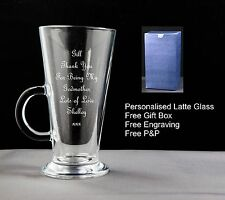 Personalised Latte Coffee Glass, Godmother Gift