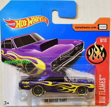 HOT WHEELS 2017 HW FLAMES '68 DODGE DART #8/10 PURPLE SHORT CARD