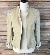 Ann Taylor LOFT Beige Linen Long Sleeve Blazer M Lined Open Front Jacket