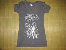 Starwars Grey  Return of The Jedi Womens Juniors Small  Sleeve V Neck Tee