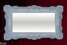 Espejo de pared Rectangular Blanco/Plata Dual BARROCO DECORACIÓN Antiguo 96x57cm
