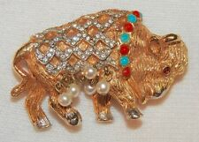 Vintage Kenneth J Lane Buffalo Brooch Beads Crystals and Faux Pearls Signed