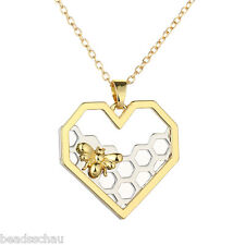 Silver Golden Heart-shaped Bee Hive Pendant Necklace Mother's Day GIFTS
