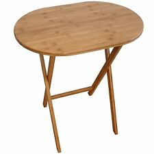 Foldable Bamboo Side Table End Display Oval Coffee Table Home Office Bedroom