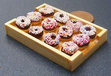 1:12 Chocolate Donuts In A Wooden Tray Doll House Miniature Bakery Accessory By7