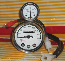 Royal Enfield Motorcycle Speedometer 0-160 KPH White + Ammeter