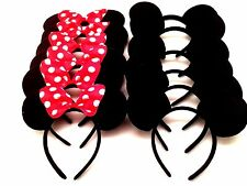 12 pc Minnie Mickey Mouse Ears Headbands Black Red Polka Dot Bow Birthday