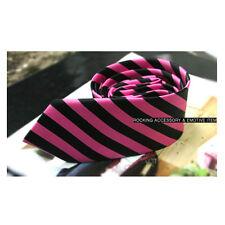 Punk Rock Emo Gothic Black&Pink Stripe Neck Tie