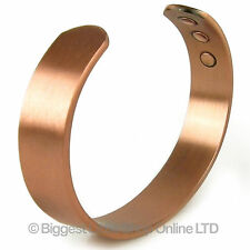 NEW Mens Chunky Magnetic Copper Bracelet 6 Strength Magnet Healing 12mm Cuff