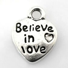 "Silver Heart Charm Believe in Love Awareness Wedding 1/2"" Jewelry Lot of 50"