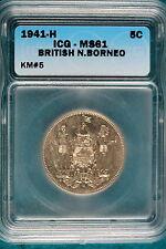 1941-H ICG MS61 British North Borneo 1 Cent KM#5! #B4822