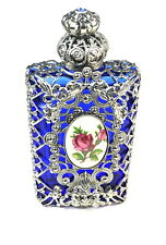 Czech Blue Silver Filigree Floral Perfume Bottle / Wholesale
