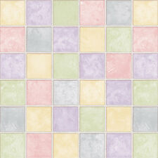 Yellow Green Purple Pink Tile Effect Self Adhesive Wallpaper Vinyl Paper Sheets