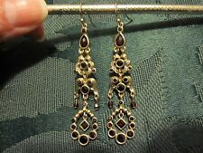 LC crystal chandelier earrings gold with ruby colored crystals
