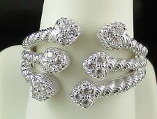Judith Ripka Sterling Silver Hearts Ring - Size 6