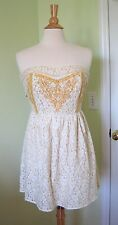 Flying Tomato SMALL S Strapless Floral Lace Dress Ivory Gold Boho lined back zip